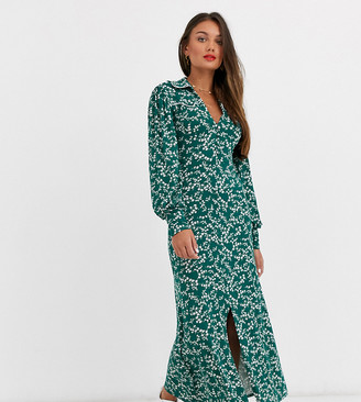 ASOS DESIGN Petite long sleeve western shirt dress in green ditsy print