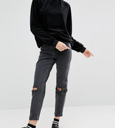 Asos Farleigh Slim Mom Jeans In Lulu Washed Black With Busted Knees