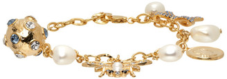 Erdem Gold and Blue Crystal Bee Charm Bracelet