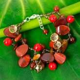 Handmade Jasper and Carnelian Bracelet from Thailand, 'Summer Symphony'