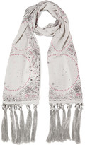 Alexander McQueen Fringed Printed Silk Scarf - Light gray