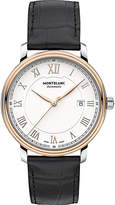 Montblanc 114336 Tradition red gold-plated stainless steel and leather watch