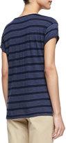 Vince Striped Rolled-Sleeve Slub Top