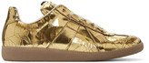 Maison Margiela Gold Metallic Cracked Replica Sneakers