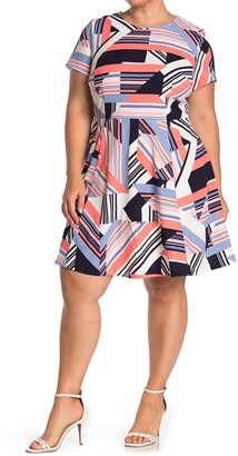 Vince Camuto Short Sleeve Printed Fit and Flare Dress
