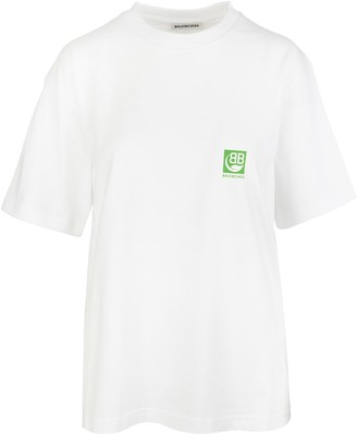 Balenciaga White Woman Oversized T-shirt With Green Logo