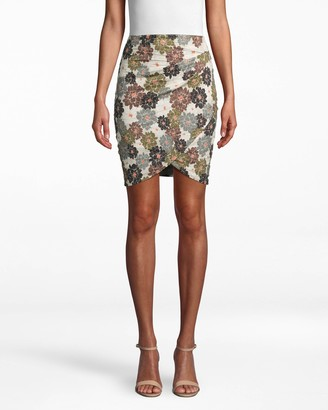 Nicole Miller Camo Delilah Cotton Metal Faux Wrap Skirt