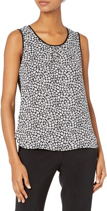 Anne Klein Women's Printed Mixed Media Shell