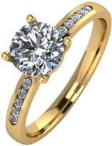 Moissanite 9ct Gold 1.10 Carat Solitaire Ring with Set Shoulders