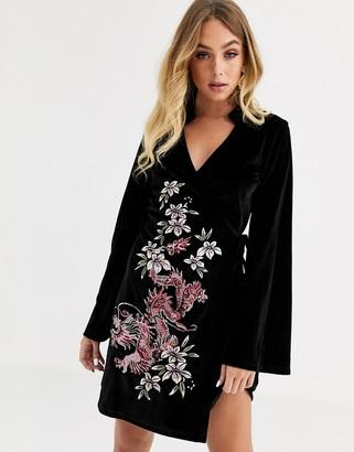 Asos DESIGN velvet embroidered kimono dress