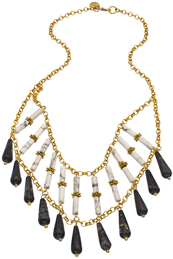 Wendy Mink White Tube Onyx Teardrop Necklace