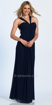 Dave and Johnny Twist Tied Ruched Halter Evening Dress