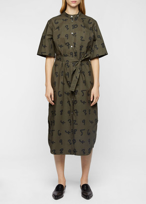 Women's Olive Green 'Numbers' Shirt Dress