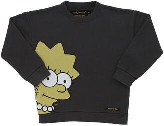 Finger In The Nose Lisa Simpson Print Cotton Sweatshirt