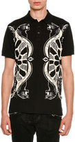 Just Cavalli Piqué Polo Shirt w/ Panther & Bow & Arrow Graphics
