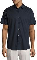 Vince Reverse-Placket Short-Sleeve Shirt, Navy