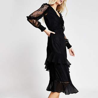 River Island Black lace long sleeve frill midi dress