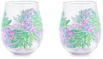 Lilly Pulitzer Swizzle In 2-Piece Wine Glass Set