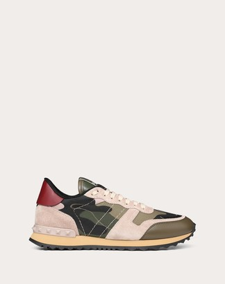 Valentino Camouflage Rockrunner Sneaker Women Military Green Cotton 66%, Polyester 34% 34.5