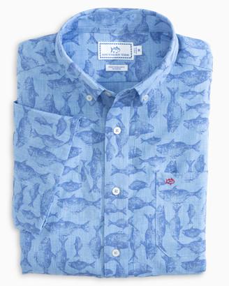 Southern Tide Iwa Fish Print Short Sleeve Button Down Shirt