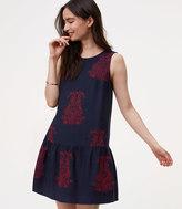 LOFT Floral Scroll Drop Waist Dress