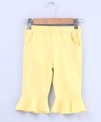Beebay Girls' Capris Yellow - Yellow Ruffle-Accent Capri Pants - Newborn, Infant, Toddler & Girls