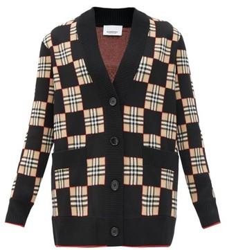 Burberry Paislee Vintage-check Wool-blend Cardigan - Black Multi