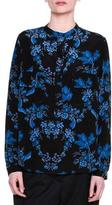 Stella McCartney Estelle Floral-Print Blouse, Black/Blue