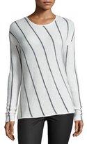 Velvet Erica Long-Sleeve Striped Top, Heather Gray/Milk