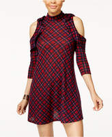 Heart And Soul Juniors' Plaid Cold-Shoulder Dress