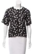 Band Of Outsiders Printed Silk-Blend Top w/ Tags
