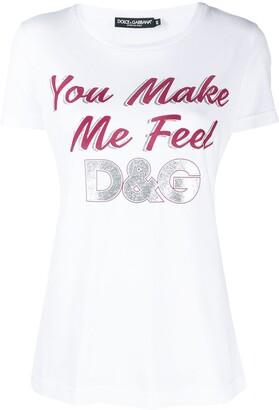 Dolce & Gabbana glitter-slogan T-shirt