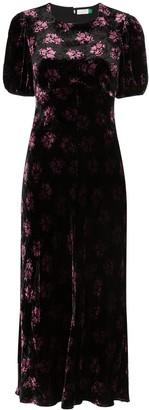 Rixo Floral Print Velvet Midi Dress