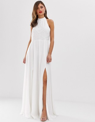 Frock and Frill high neck maxi dress with embellsihed detail