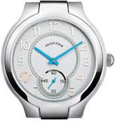 Philip Stein Teslar Stainless Steel Small Round Watch Head, White/Sky Blue