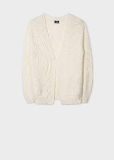 Paul Smith Women's Cream Rib Knit Cotton Blend Cardigan - Small (S)   cotton   cream - Cream