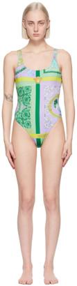 Versace Underwear Purple Barocco Mosaic Print One-Piece Swimsuit