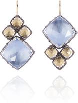 Larkspur & Hawk White Quartz Blue and Yellow Sadie Cluster Earrings