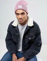 Asos Patch Beanie In Pink