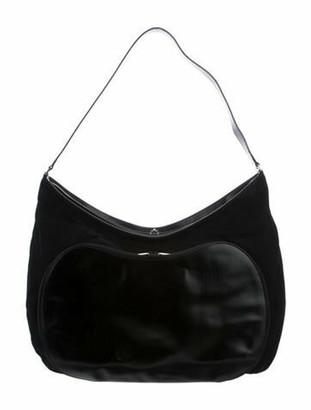 Gucci Vintage Black Nylon Weekender Duffle Black