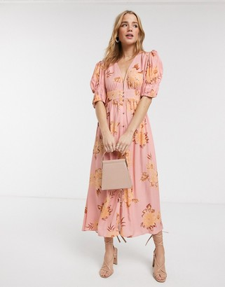 Keepsake button through forever floral midi dress in tan gardenia