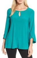 Chaus Women's Bell Sleeve Keyhole Top