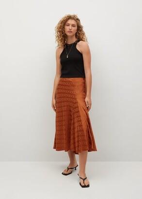 MANGO Midi satin skirt