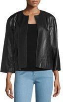 Michael Kors Cookie Open-Front Leather Jacket, Black