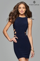 Faviana 7853 Short Scoop Neck Cocktail Dress with Side Cut Outs