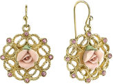 JCPenney 1928 Jewelry Pink Rose and Crystals Gold-Tone Drop Earrings