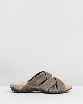 Vionic Women's Grey Flat Sandals - Juno Slide Sandals - Size One Size, 6 at The Iconic