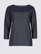 M&S Collection Cotton Rich Striped 3/4 Sleeve T-Shirt