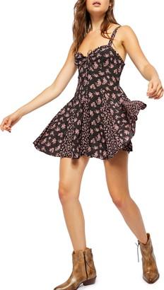 Free People Don't Dare Mixed Print Minidress