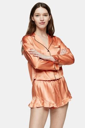 Topshop Apricot Satin Shorts Frill Pajama Set